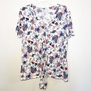 Lucky Brand   Floral Tie Front Top